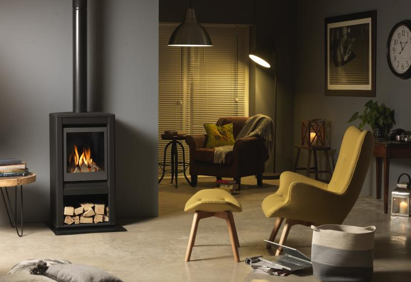 Valor Inspire Large Stove lifestyle right angle with logs.jpg